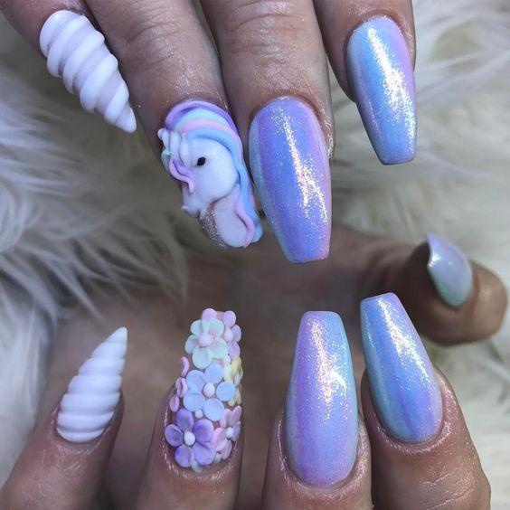 Unicorn Tipped Nail Art: 10 Great Unicorn Stiletto Nails To Get Today
