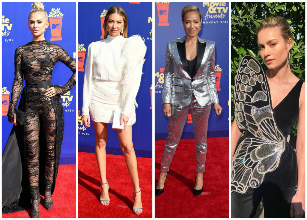 collage from MTV Movie and TV Awards Red Carpet 2019