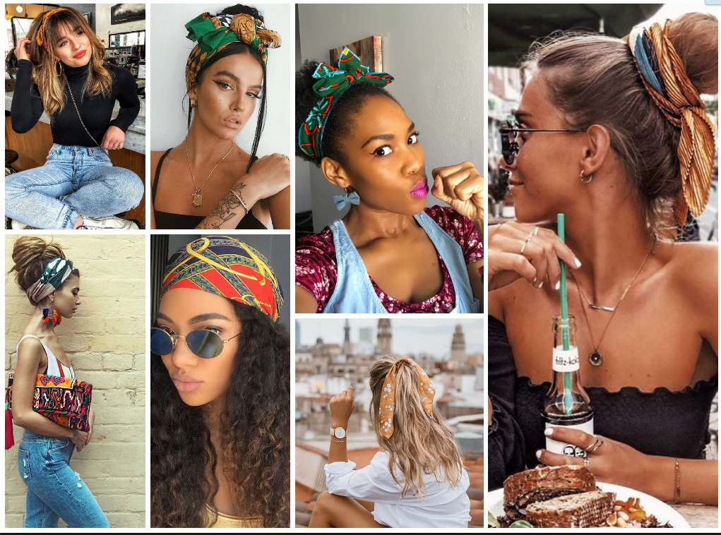 Summer hair scarf collage