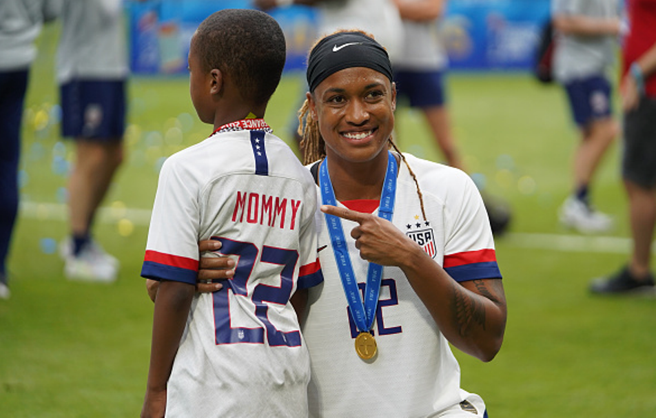 US Women's National Team Soccer player Jessica McDonald and son Jeremiah